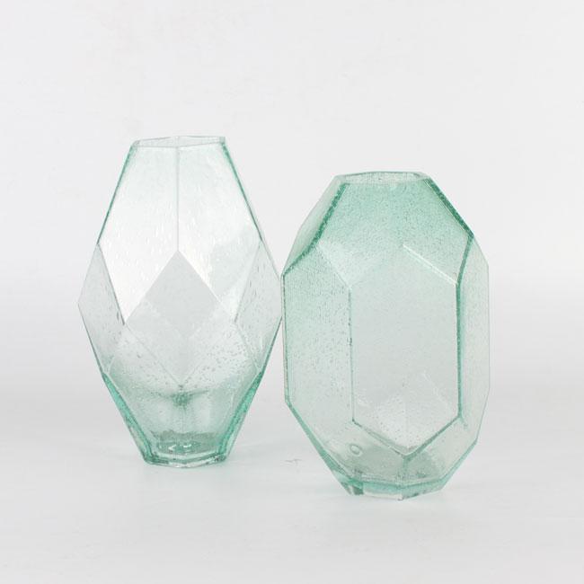 Light Blue Diamond Glass Flower Vase Bulk Set Of 2 Zhaohaichina