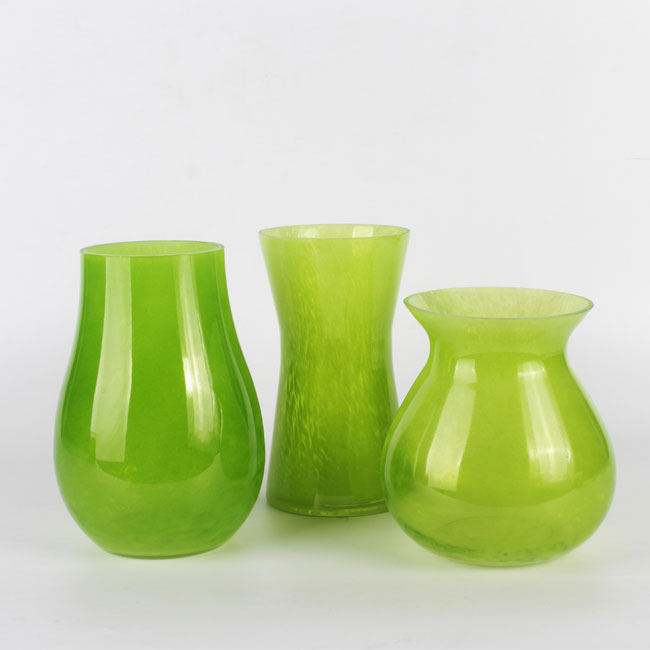 Green Contemporary Glass Flower Vases For Living Room Decoration