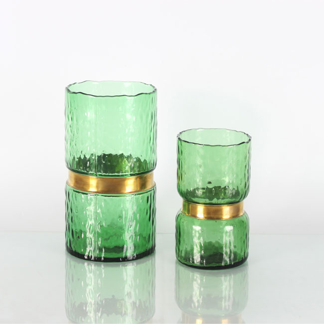 Green Clear Decorative Glass Vases Cheap Round Vase Centerpieces