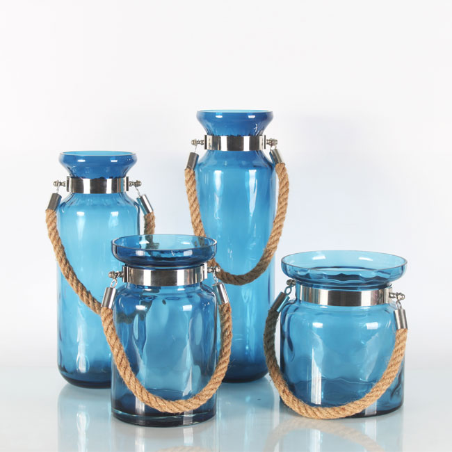Turquoise Decorative Glass Vases With Hand Held Hemp Rope Zhaohaichina
