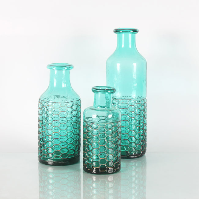 Turquoise Clear Decorative Glass Bottle Vases Cheap Bud Vases Bulk Zhaohaichina
