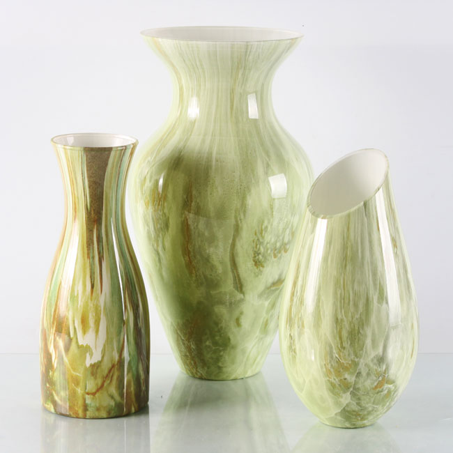 Hand Blown Light Green Glass Vases Centerpieces Table Vase