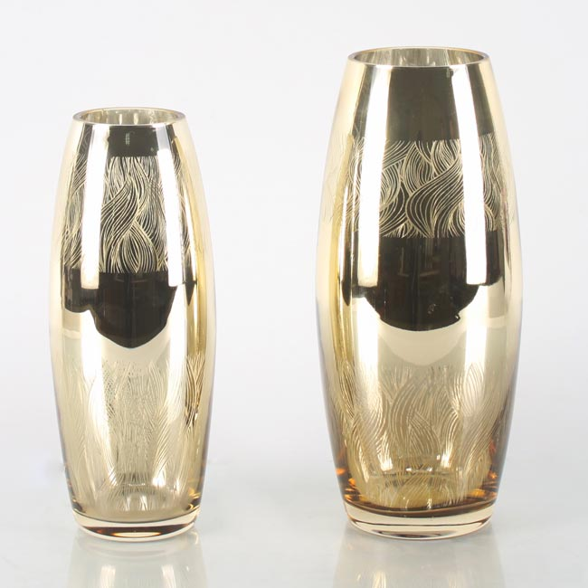 Bronze tall oval glass flower vases for centerpieces